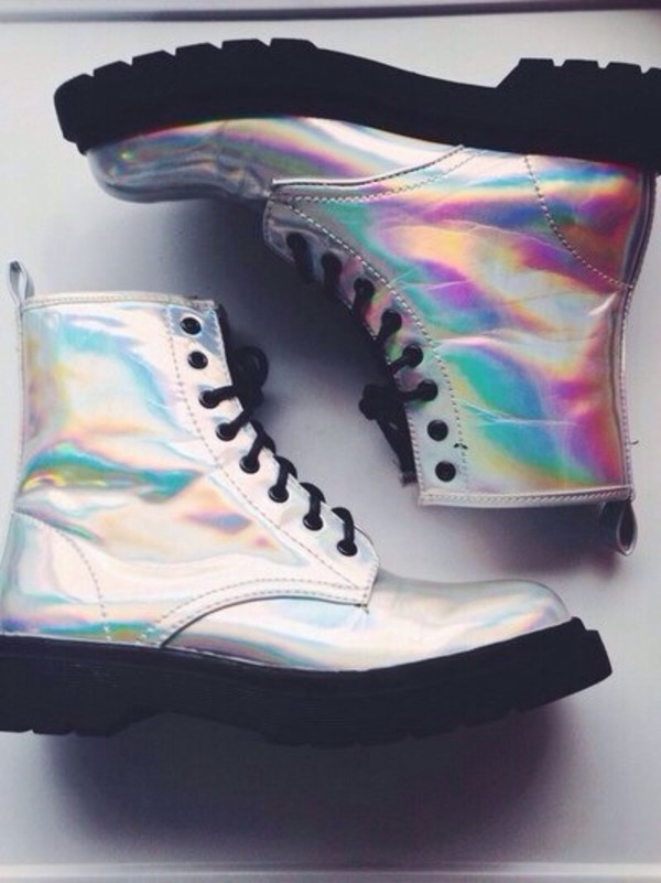Holographic Doc Martens   Holographic boots, Boots, Goth