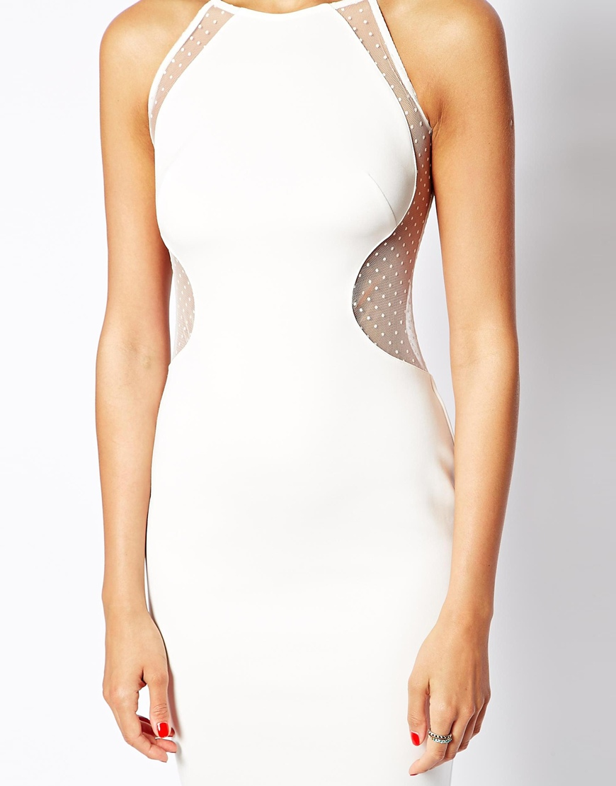 TFNC Bodycon Dress with Spot Mesh Inserts at asos.com