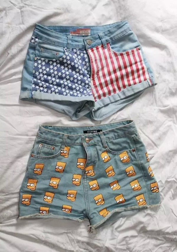 shorts cut off shorts denim denim shorts america american the simpsons bart simpson yellow red white blue american flag shorts american flag High waisted shorts
