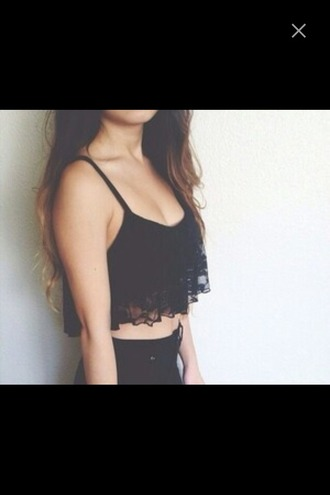 top high waisted jeans black crochet lace crop tops cropped t-shirt see through brunette outfit tank top.  crop top tank top black crop top