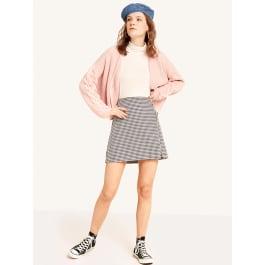 Black and White Dogtooth Mini Skirt