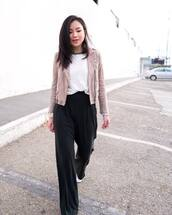 pants,wide-leg pants,black pants,high waisted pants,blouse,jacket,suede jacket