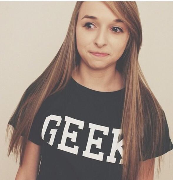 shirt black shirt that says geek