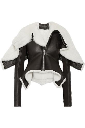 jacket biker jacket leather wool black