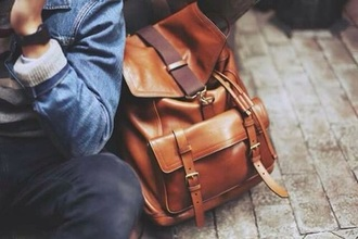 bag backpack brown mens accessories leather backpack
