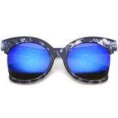sunglasses,oversized,mirror,blue,blue sunglasses,cat eye,oversized sunglasses,mirrored sunglasses