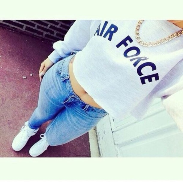 shirt sweater grey cropped sweater love is in the air top blue shirt nike air force casual dope swag girl swag nike crop tops jumper blouse jeans jewels nike air force 1 white sweater air force jumper jumpsuit grey sweater beautiful dope shirt fashion shoes blue jacket nike air force white nike air force skinny jeans