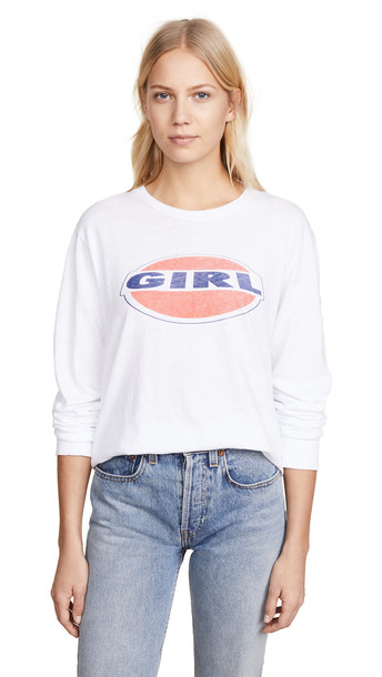 RE/DONE Long Sleeve Tee with Girl Graphic in white
