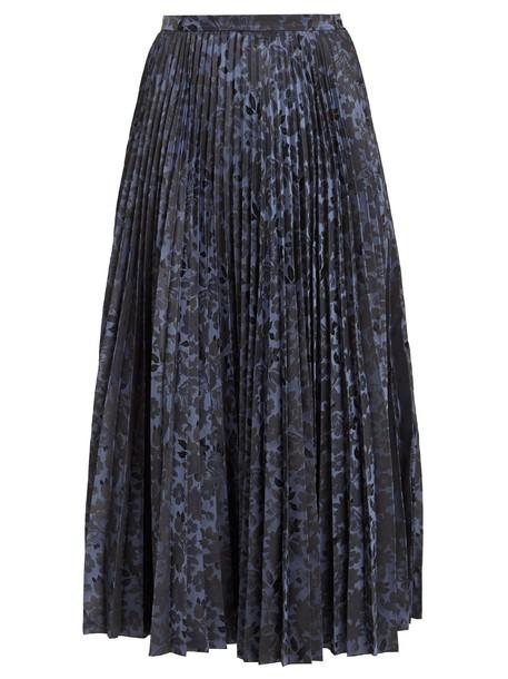 Erdem skirt midi skirt pleated midi jacquard floral dark blue dark blue