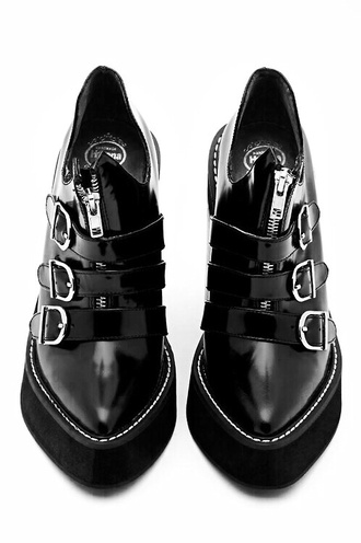 shoes pointed toe platform shoes black zip buckles metal black shoes