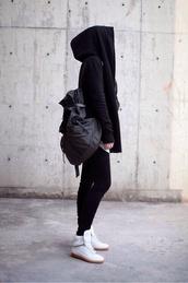 jacket,jumper,sweater,black,hoodie,leggings,health goth,black leggings,sports leggings,black hoodie,sports top,backpack,sneakers,white sneakers,sportswear,grey backpack