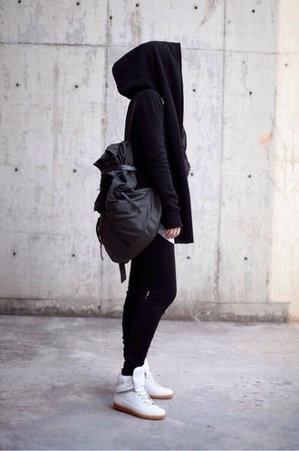 jacket jumper sweater black hoodie leggings health goth black leggings sports leggings black hoodie sports top backpack sneakers white sneakers sportswear grey backpack