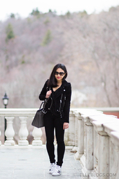 fastfood&fastfashion,blogger,dress,sweater,shoes,jacket,black jacket,grey bag,sneakers,black jeans,spring outfits