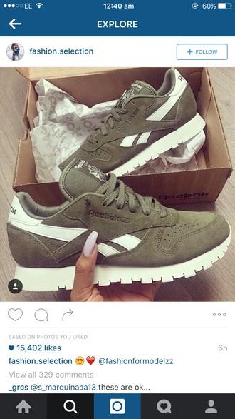shoes reebok green white love reebok classic