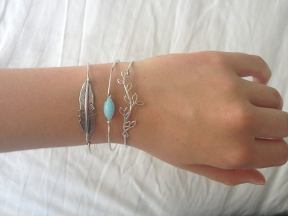 jewels cute feather silver blue stone girl jewelry pretty bracelet leaves nature tumblr