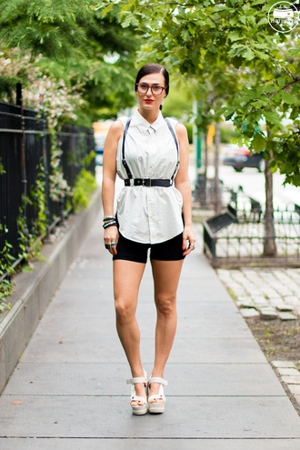 do the hotpants blogger harness shirt wedge sandals