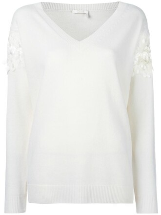 jumper cherry women white cotton sweater