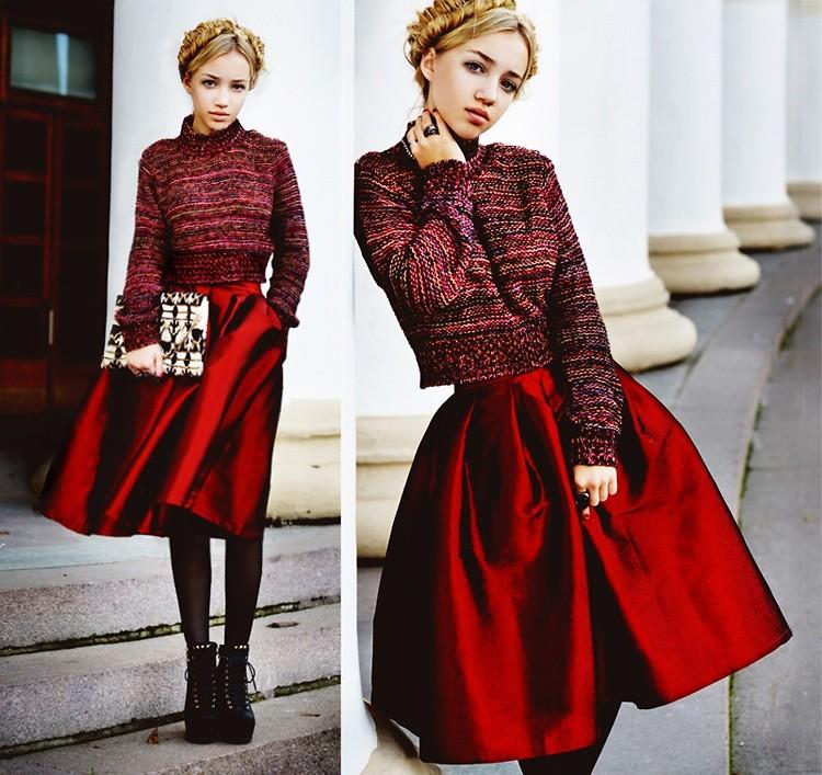 Red A-line Midi Skirt - Retro, Indie and Unique Fashion