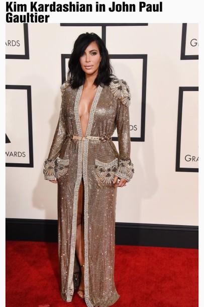 Kardashians Formal Dress Celebrity Style Grammys 2015