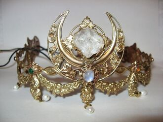 hair accessory crown moon gemstone gold
