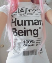 t-shirt,girl,top,label,white,writing,clothes,human,being,100% organic,human being,cool,urban,interesting,fashion,shirt,style,graphic tee,handle with care,fragile,keep dry,this way up,quote on it,this side up,billboard,black text,white shirt,black shirt,grunge,black and white,organic,pale,balck writings,cute,emo,pink,white t-shirt,pink hair,black