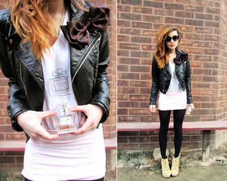 jacket dior mini skirt leather jacket motorcycle jacket bows round sunglasses t-shirt shoes skreened