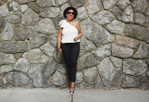closetconfections blogger cardigan top pants sunglasses jewels hat shoes one shoulder black pants pumps black and white