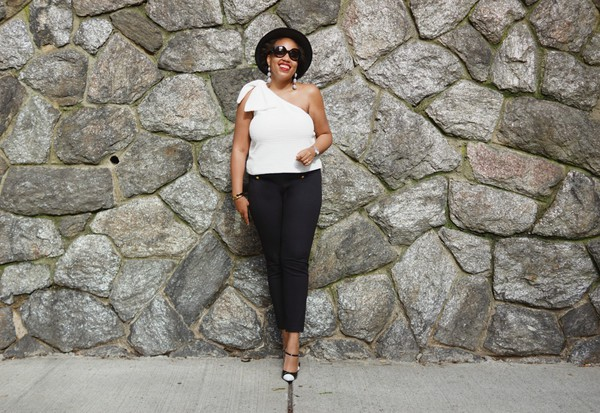 closetconfections blogger cardigan top pants sunglasses jewels hat shoes one shoulder black pants pumps black and white