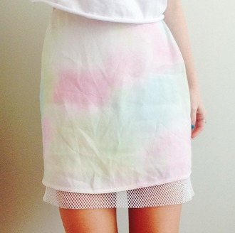 skirt pastel rainbow tie dye mesh net tumblr watercolour white multicolor blue pink green yellow alternative indie translucent knit hole