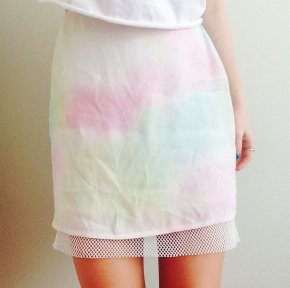 knit white skirt mesh blue watercolour multicoloured pink green yellow alternative indie translucent hole pastel rainbow tiedye netting tumblr