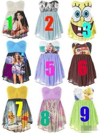 dress mini dress printed dress funny strapless spongebob nutella winnie the pooh tinkerbell