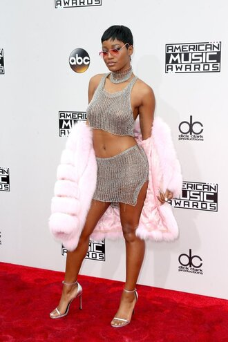 skirt top fur fur coat keke palmer sandals american music awards silver metal