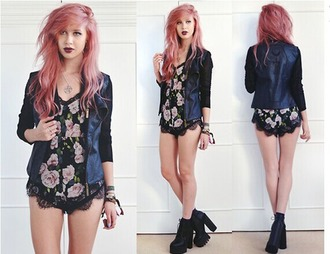 jacket black black jacket leather jacket black shoes floral playsuit black playsuit jewelry bangle