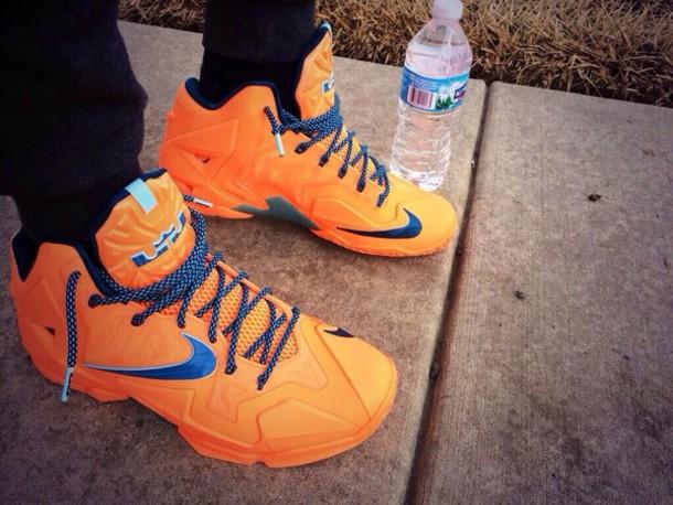 shoes nike air nike sneakers nike orange blue sneakers