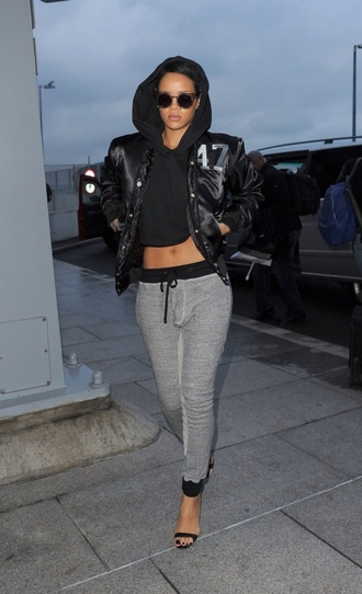 pants leggings joggers grey women rihanna jacket sweatpants hoodie top shirt glases round glasses heels black heels rihanna shirt sunglasses shorts