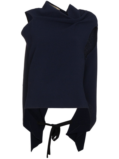 Roland Mouret top draped top women draped blue wool