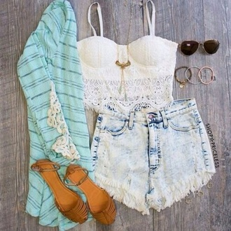 top white lace corset straps detail crop tank top blue turquoise aqua kimono panel paneling shorts acid washed denim ripped