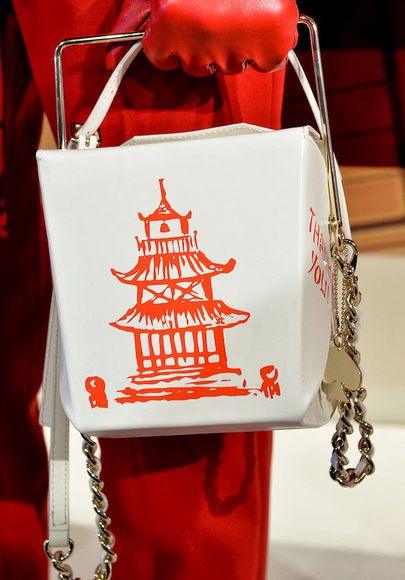 fashion runway bag chinese take out box take out purse takeout lunch bag asian chinese food purse fashion week fancy dragon kate spade ss14 spring fashion springsummer