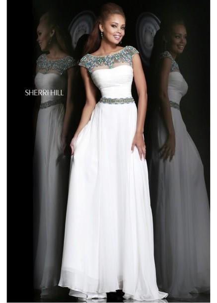 dress, prom dress, white dress, long prom dress, formal, blue beads ...