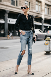 fashionjackson,blogger,top,shoes,bag,sunglasses,jewels,fall outfits,pumps,black shirt,ripped jeans,shirt,black sunglasses,tumblr,ruffle,ruffle shirt,denim,jeans,blue jeans,slingbacks