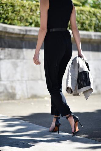 jumpsuit tumblr black jumpsuit sandals sandal heels high heel sandals all black everything shoes
