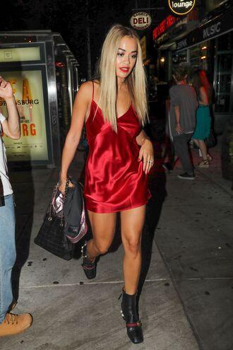 dress satin dress satin rita ora red dress red boots mini dress summer dress