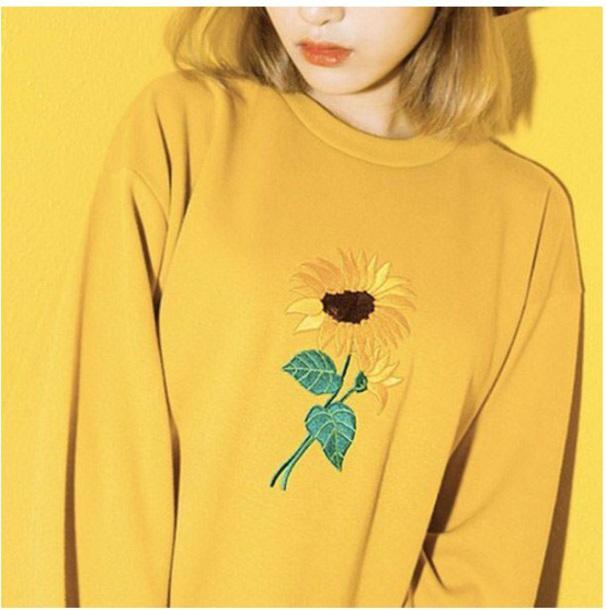 sweater girly yellow sweatshirt jumper sunflower
