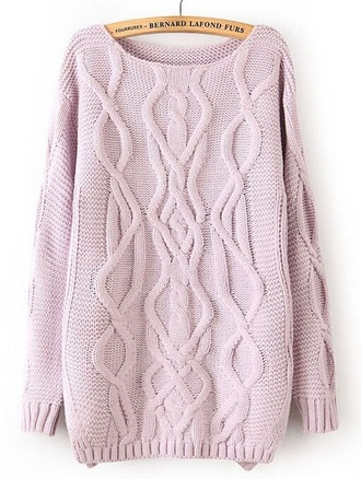 sweater lavender oversized cable knit pastel