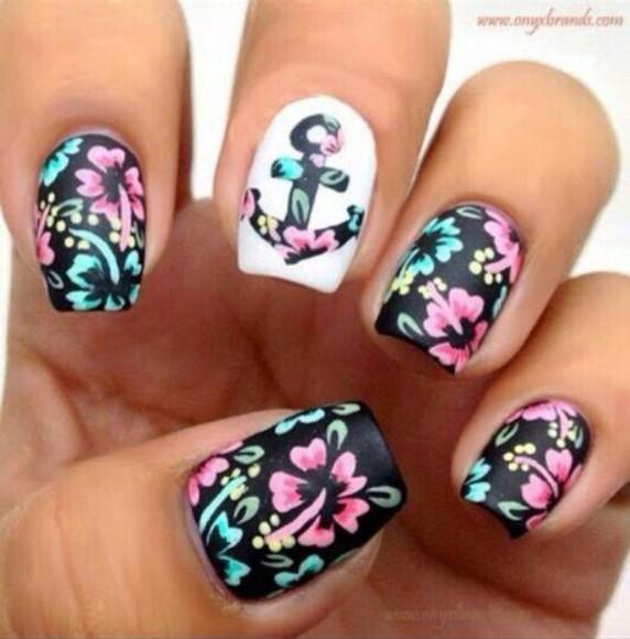 nail polish black white anchor flowers floral nail art