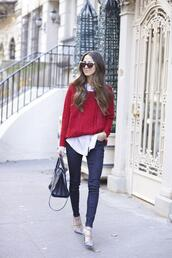 something navy,blogger,cable knit,red sweater,skinny jeans,white shirt,cat eye,handbag,pointed toe,jeans,shoes,shirt,sweater,sunglasses,bag,red cable knit sweater,denim,blue jeans,valentino rockstud,studded shoes