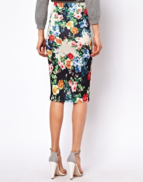Petite | ASOS PETITE Exclusive Pencil Skirt In Floral Print at ASOS