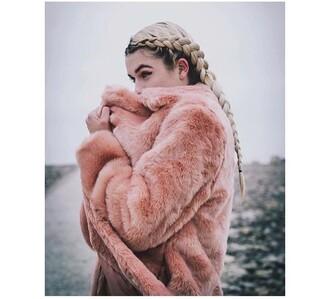 coat pink fur coat fur coat pink