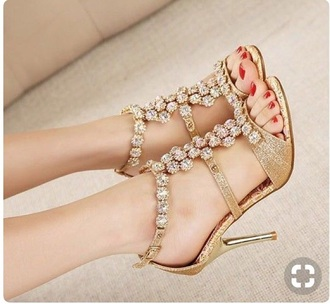 shoes gold sparkly heels gems
