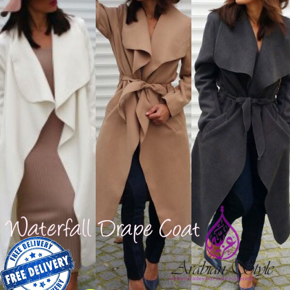 Celebrity Waterfall Drape Belted Coat ♡ Fashion Jacket
